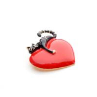 szív alakú kitűző cicás