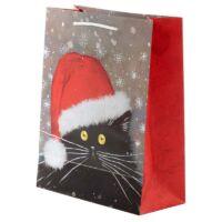 karácsonyi tasak fekete macska