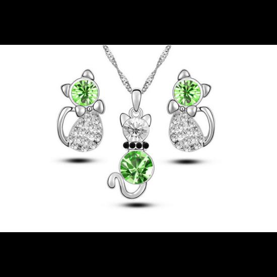 kristály cica ékszer szett zöld