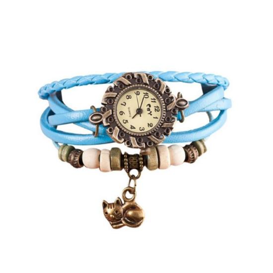 cicás karkötő óra kék