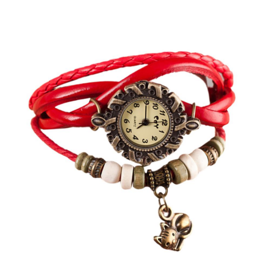 cicás karkötő óra piros