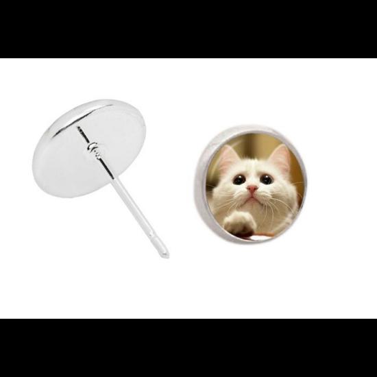 fehér cicás bedugós fülbevaló