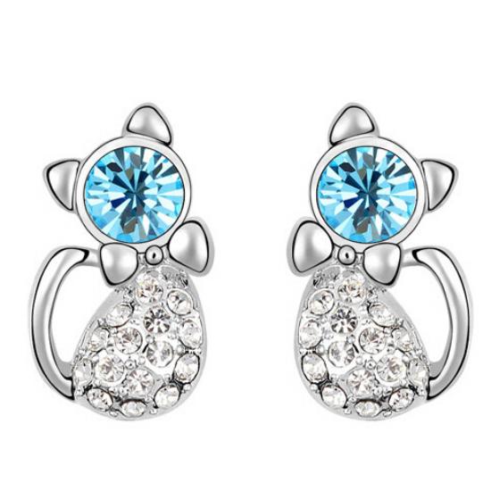 Kék kristályos cica fülbevaló