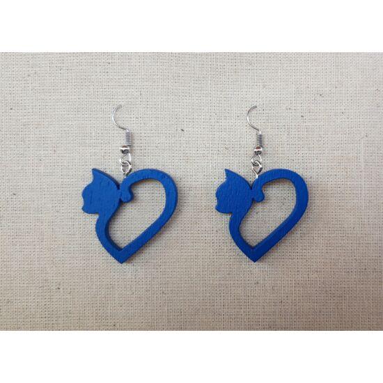 szív alakú cica fülbevaló kék