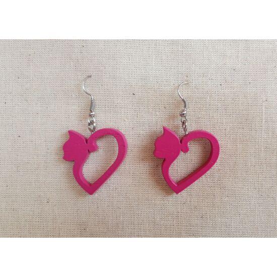 szív alakú cica fülbevaló pink