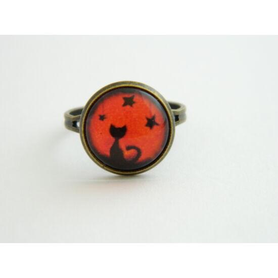 cicás üveglencsés gyűrű narancs