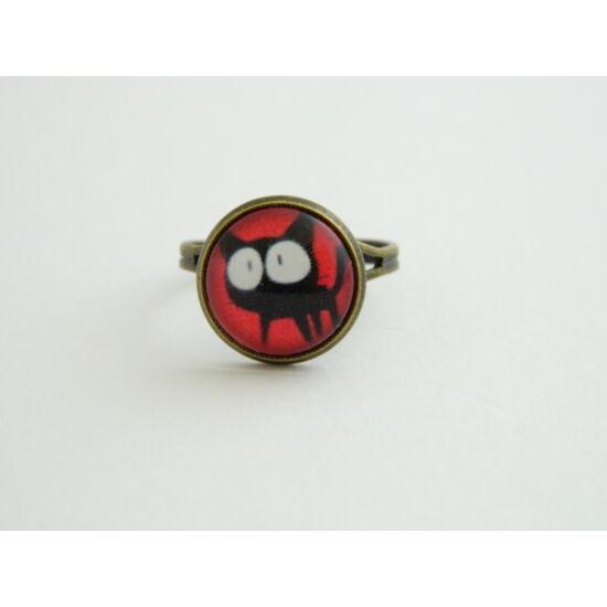 cicás üveglencsés gyűrű piros