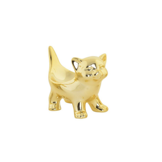 porcelán gyűrűtartó cica