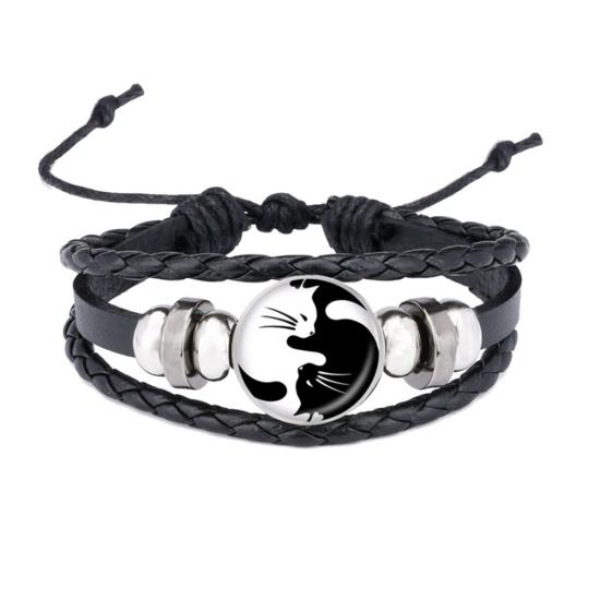 fekete fehér cica karkötő