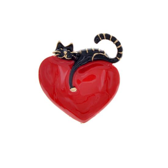 fekete macska piros szív kitűző