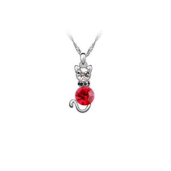 piros kristályos cica nyaklánc