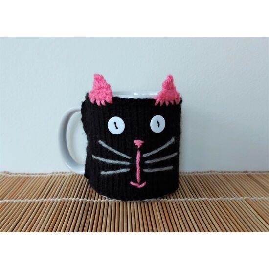 fekete cicás kötött pulcsis bögre