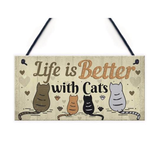 ajtótábla life is better with cats