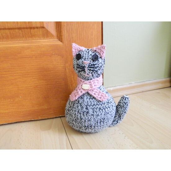 ajtókitámasztó cirmos cica
