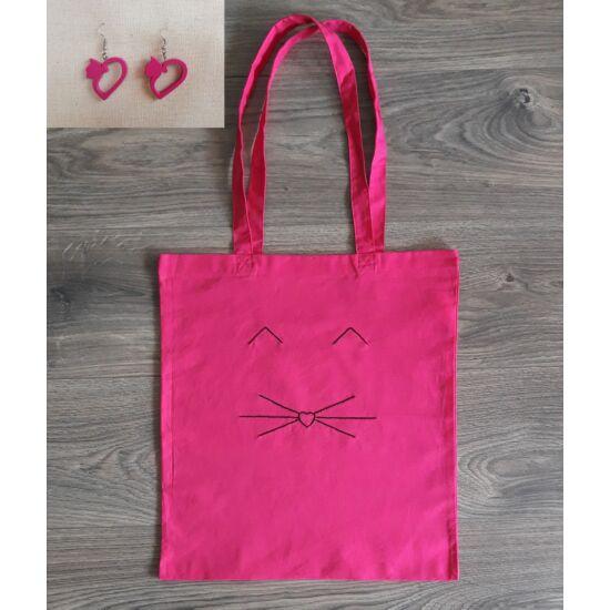 pink táska fülbevaló szett