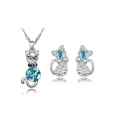kristály cica ékszer szett kék