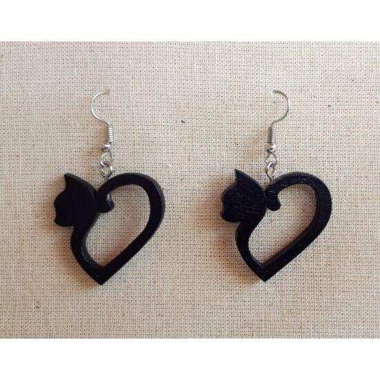 szív alakú cica fülbevaló fekete